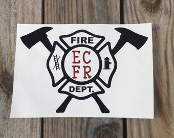 Fire Fighter Cross Iron-On Vinyl Decal~ Glitter Iron-On Vinyl Decal~ Iron-On Vinyl Decal~Firefighter Iron-On Decal~Fire Cross