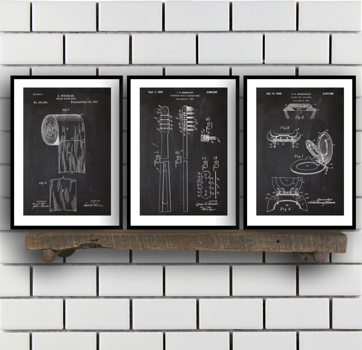 Wall art bathroom decor - Bathroom Poster Bathroom Art Bathroom Decor Bathroom Art Toilet Paper Toilet Seat Tooth Brush Bathroom Wall Art Bathroom 3 Set