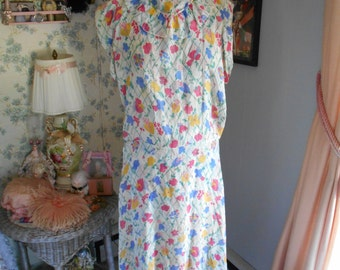 Pretty 1920's Flapper/Garden/Tea Party Floral Dress with Scarf