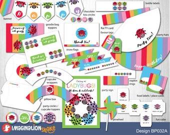 Rainbow Ladybugs Party Birthday Package PRINTABLE / Ladybug Birthday Party Printouts / Party Printables / Rainbow Birthday Party Package DIY