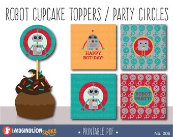 Robot Birthday Party Cupcake Toppers Party Circles PRINTABLE / Party Printables / Cute Robot Decorations Boy's Birthday Set / Baby / No. 006