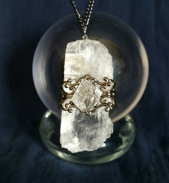 selenite necklace magical new age jewelry for