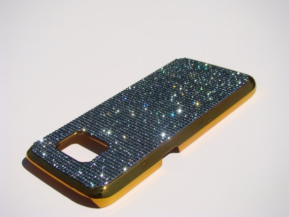 Galaxy S7 Black Diamond Rhinestone Crystals on Gold-Bronze Chrome Case. Velvet/Silk Pouch Bag Included, Genuine Rangsee Crystal Cases.