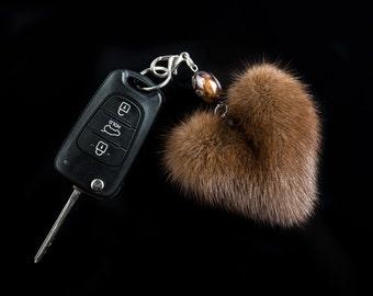 Natural Mink Brown Heart Keychain