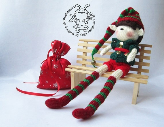Doll Elf boy knitting pattern knitted round. Elf pattern.