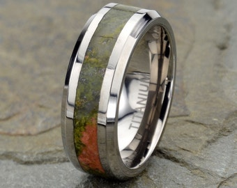 Wedding Band, Stone inlay Wedding Ring, mens ring, Titanium Wedding Bands, Polished beveled edge, Personalized ring, Titanium jewelry