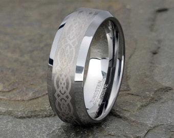 Celtic Ring, Tungsten Wedding Band, Mens Wedding Band, Brushed Mens Ring, Polished Edge, Mens Ring, 8mm, Tungsten Ring, Custom Engraving