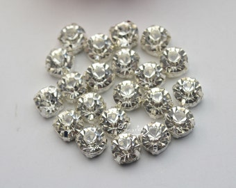 144 pcs SS50 Loose clear sew on rhinestone silver