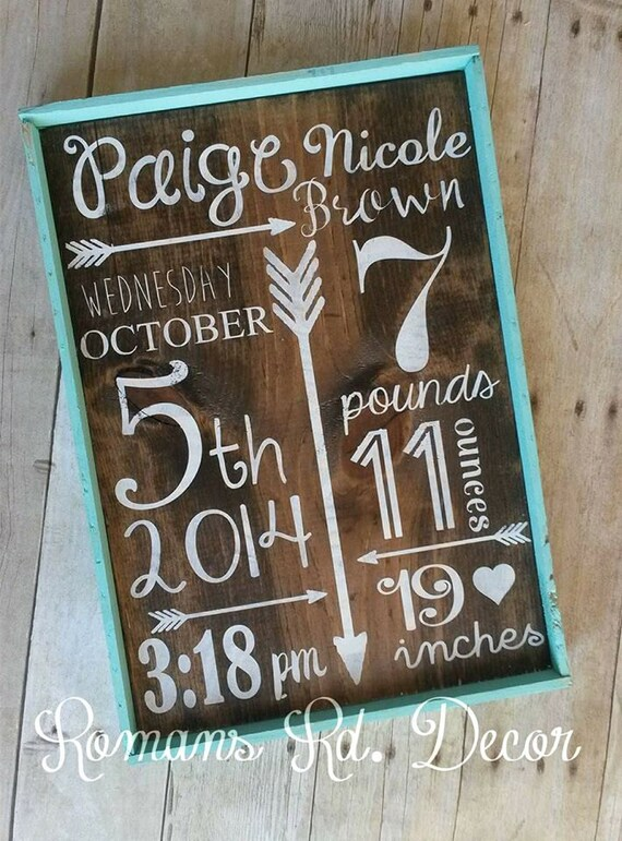 birth announcement sign framed baby shower gift. Black Bedroom Furniture Sets. Home Design Ideas