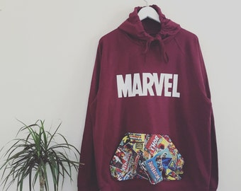 Mens and Womens sizes. Custom Cut & Sew marvel superheroes comics pouch pocket hoodies. See kids section for childrens.