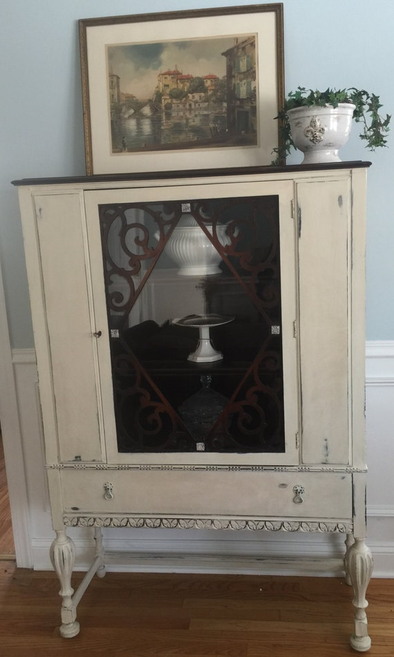 Vintage China Cabinet Jacobean Curio Cabinet Shabby Chic