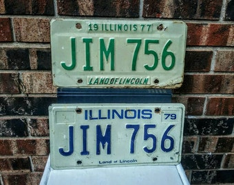 "License Plates ""Jim"" Lot of 2 Illinois Recycled License Plates, JIM 756, Different Years, Great for the Jim in your circle!"