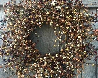 Fall Wreath with Mixed Pip Berries, Pip Berry Wreath, Green, Cream and Orange Berry Wreath, Thanksgiving Wreath, Fall Decor, Pumpkin Wreath