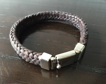 Mens Woven Leather Bracelet with .925 Sterling Silver Box Clasp Handmade.