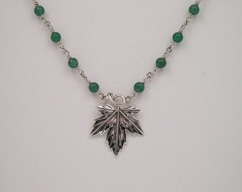 Aventurine Sterling Gemstone Necklace with Sterling Maple Leaf Ornament