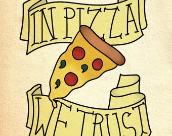 Traditional Tattoo Style Pizza Print