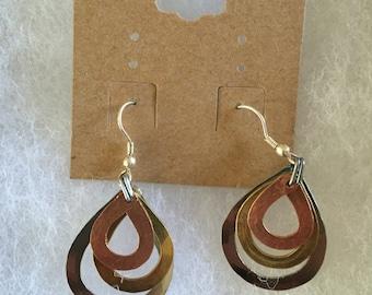 Handmade brass, copper and silver earrings Teardrop