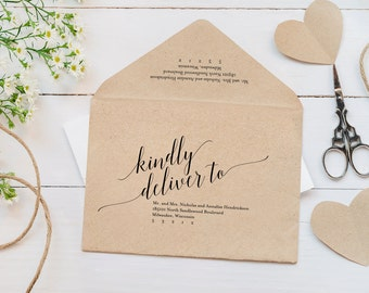 Calligraphy Envelope Printable, Envelope Template, Wedding Envelope, Editable Envelope Template, A7, RSVP, PDF Instant Download #BPB310_34