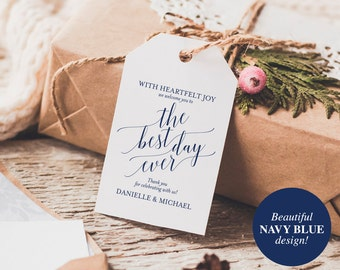 Welcome Wedding Tag, Wedding Welcome Bag Tag, Welcome Gift Tag, Best Day Ever, DIY, Navy Blue Wedding, PDF Instant Download #BPB320_24