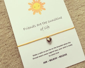 friends are the sunshine of life wish bracelet