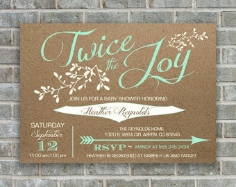 TWINS BABY SHOWER Invitation - Twice the joy invitation- Twins baby shower invitation- printable shower invitation- Twins printable invite