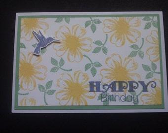 Happy Birthday Greetings card with flowers & Hummingbird