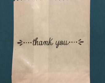 Paper Bags 25 x White Paper lolly Sweet Candy Bag - Hand Stamped Thank You Bag