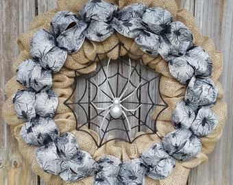 Halloween Wreath, ON SALE, Halloween Wreath, Halloween Decor, Halloween Door Wreath, Spider Wreath, Spider Door Wreath, Halloween Decoration
