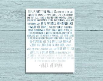 Walt Whitman Ombre Quote Print 16x20