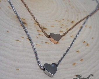 Rose & Silver Double Layer Heart Pendant 18″ Stainless Steel Necklace