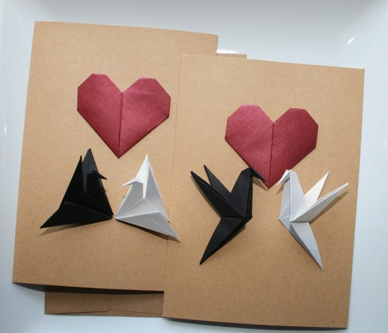 origami love birds cardsorigami greeting by thepaperdecor