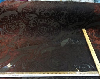 """42.5"""" w Poly-silk burned out velvet. 75/25 Silk poly. Hues of Brown n ochre. Fabric by the yard."""