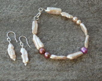 Biwa Pearl Collection, Biwa Pearls, Pearl Bracelet, Pearl Earrings, Matching Pearls, Contemporary Pearls