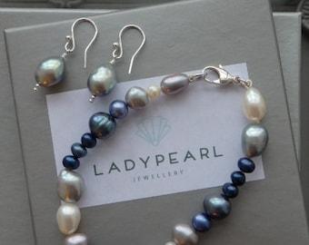 Freshwater Pearl Bracelet and Maching Earrings, Pearl Bracelet, Pearl Earrings, Matching Pearls, Blue Pearls