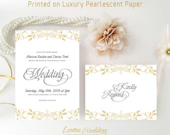 Simple wedding invitation sets printed on shimmer cardstock | Gold floral invitations with RSVP | Affordable wedding cards | Elegant invites
