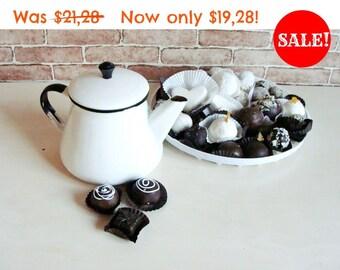 White vintage enamel kettle/ with black rim - Antique Enamel Teapot / Soviet Vintage White Rustic Kettle/ Coffee Pot - made in USSR in 64s.