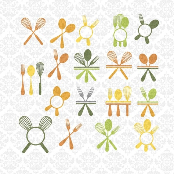 Kitchen Utensils Fork Spoon Whisk Chef Monogram Split SVG STUDIO Ai EPS Scalable Vector Instant Download Commercial Use Cricut Silhouette