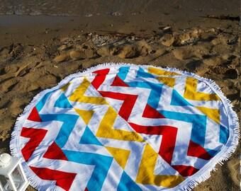 Round Beach Towel, 'ILLUSION' 150 cm, Strandlaken, Beach Towel, Beach Dress, Serviette ronde, Peshtemal, Bikini, Sunglasses, Beach