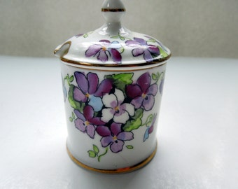 Vintage Jam Jar with Cover England Violets Floral Flowers Wedding Anniversary Birthday Bridal Shower Christmas Gift Holiday Table
