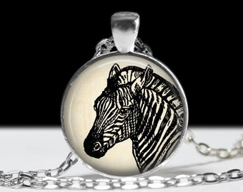 Zebra Necklace Zebra Jewelry Zebra Pendant