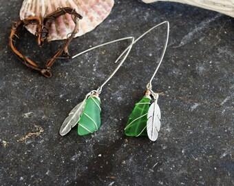 Long drop feather & seaglass Earrings