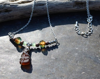 Seaglass beaded bar necklace