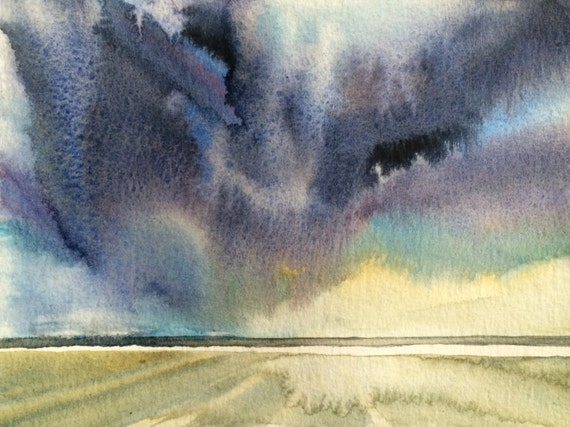 Landscape watercolor, Beach painting, Sky painting, cloud painting, beach storm, stormy skies, cloud art, landscape painting, beach