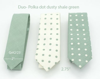 Duo-Polka dot Dusty Shale Green ties,pattern neck ties, white shale dot,dusty shale theme wedding,groomsmen,men dusty shale green accesories