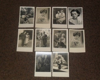 Collection of 10 vintage black and white lovely postcards. Vintage postcards, vintage postcards from Europe,