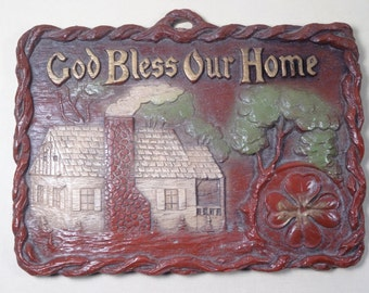 God Bless Our Home Syroco-Like Plaque