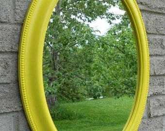 Yellow frame oval wall mirror. (vanity mirror, bathroom mirror, nursery decor,shabby chic mirror, nursery mirror,
