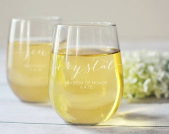 Bridesmaid Wine Glass - Set of 5 - Personalized Stemless Wine Glasses - Bridesmaid Gift - Bridesmaid Proposal - Will You Be My Bridesmaid