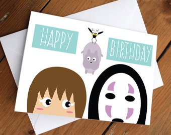 SPIRITED AWAY CARD // happy birthday, love, friendship, cute, greeting card, anime, japanese, cartoon