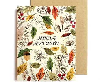 Hello Autumn Card Set - Thanksgiving Boxed Cards - Fall Notecards